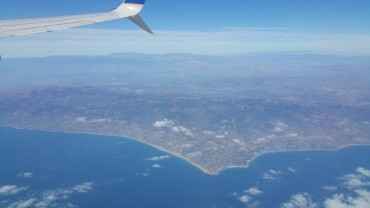 California, coast, above, plane
