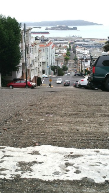 San Francisco, hill, steep street, road, Alcatraz,