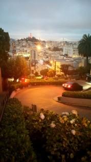 San Francisco, California, Lombard street, night, cars, slalom,