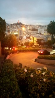 San Francisco, California, Lombard street, night, cars, slalom,