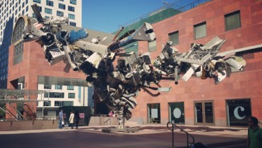 Los Angeles, Downtown, figures, temporary art, planes, plane, statue,
