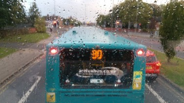 Bus, Rain, England, Great Britain, Double Decker
