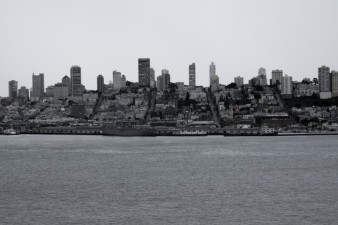 Black and White, San Francisco, SF, view, skyline, hills, B&W, skyscrapers, city, bay,