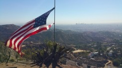 Hollywood, Hollywood sign, american flag, Los Angeles, Hollywood hills,