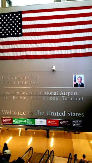 American Flag, Los Angeles Airport, Tom Bradley