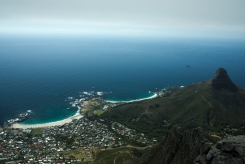 A beautiful view of the Camps Bay and the Atlantic Ocean. Lion's head to the right.