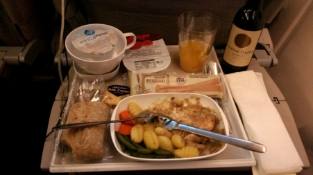 Dinner Time! I have to admit that Emirates serves quite decent meals onboard.
