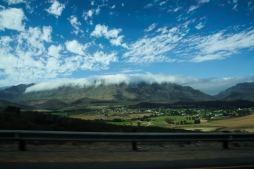 The whole range was covered in clouds. Quite a spectacular view. Just like Cape Town and Table Mountain!