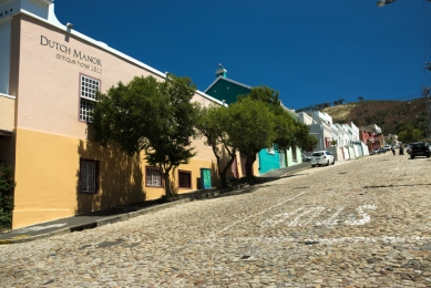 A row of houses on a hill, bo-kaap, Cape Town, South Africa