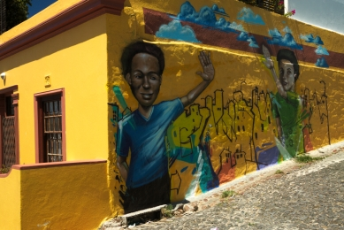 High Five Graffiti in bo-kaap, Cape Town, South Africa