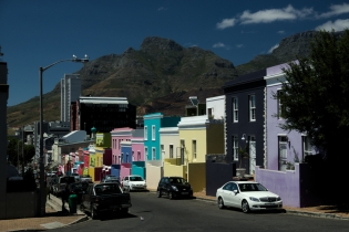 A view at the colorful houses with table mountain in the background, bo-kaap, Cape Town, South Africa