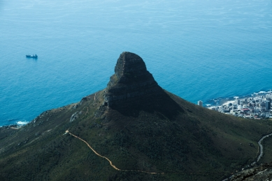 Lion's Head seen from Table Mountain, Cape Town, South Africa
