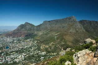 Table Mountain and Cape Town from Lions Head without a single cloud