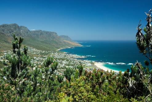beautiful view on camps bay and atlantic ocean from lions head, cape town, south africa