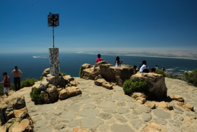 On top of Lions Head in Cape Town, South Africa, cloudless Sky