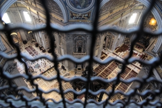 Inside and above st Peters Basilica