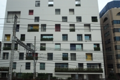 Lovely apartment block by railway line in Tokyo