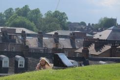 Kids playing around York Castle