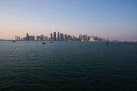 Doha skyline evening